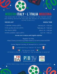 PIB's Italian Movie Night Series Flyer.