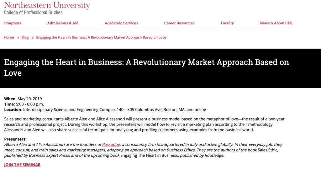 Engaging the Heart in Business: a Revolutionary Market Approach Based on Love - May 20th @ Northeastern University