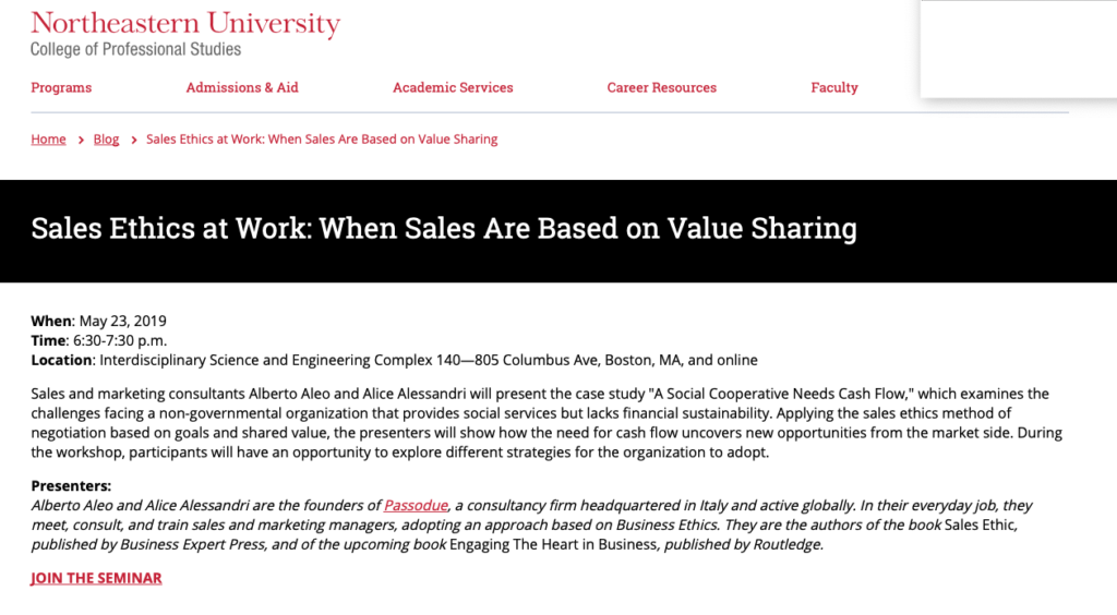 Sales and Ethics at Work: When Sales are Based on Value Sharing - May 23rd @ Northeastern University
