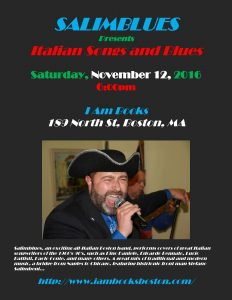 Italian Songs & Blues Night Nov 12th 6pm at I AM Books