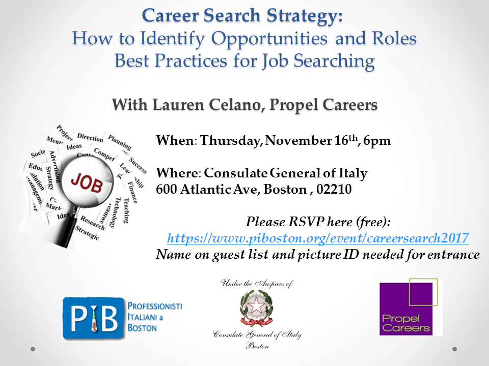 Career Search Strategy seminary November 16th at the Italian Consulate in Boston