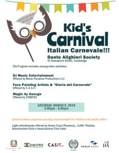 Italian Carnival at Dante Alighieri, March 9th, 3pm.