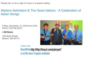 Salimbeni and The Good Italians, live Italian music at IAM books, December 14th from 6 pm to 7:30 pm.