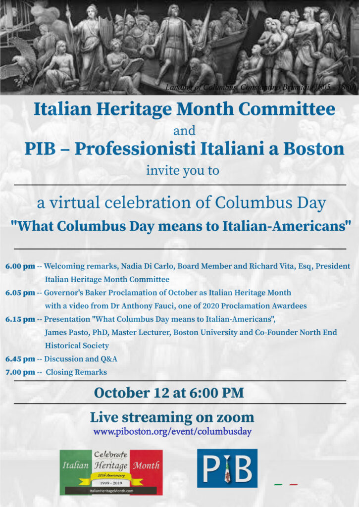 Columbus Day online celebration flyer.