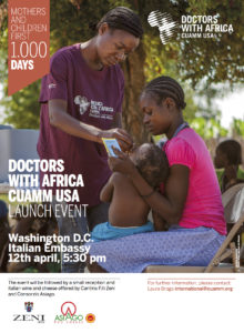Cuamm USA Launch Event held at the Washington DC Italian Embassy on April 12th at 5:30 pm.