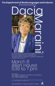 Author Dacia Maraini at Lowell's Allen House on March 6th from 5:30 PM.
