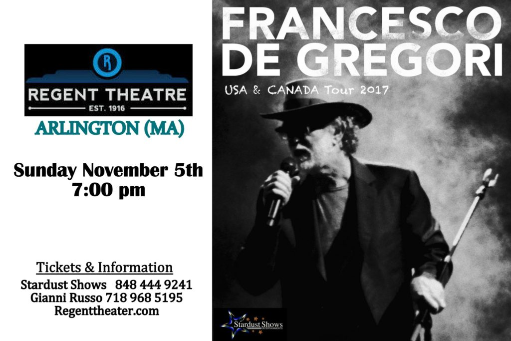 Francesco De Gregori in concert, November fifth at the Regent Theatre, Arlington