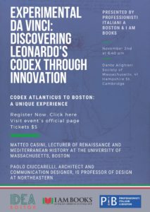 Flyer for PIB and IDEA Boston co-hosted event Discovering Leonardo's Codex through innovation.
