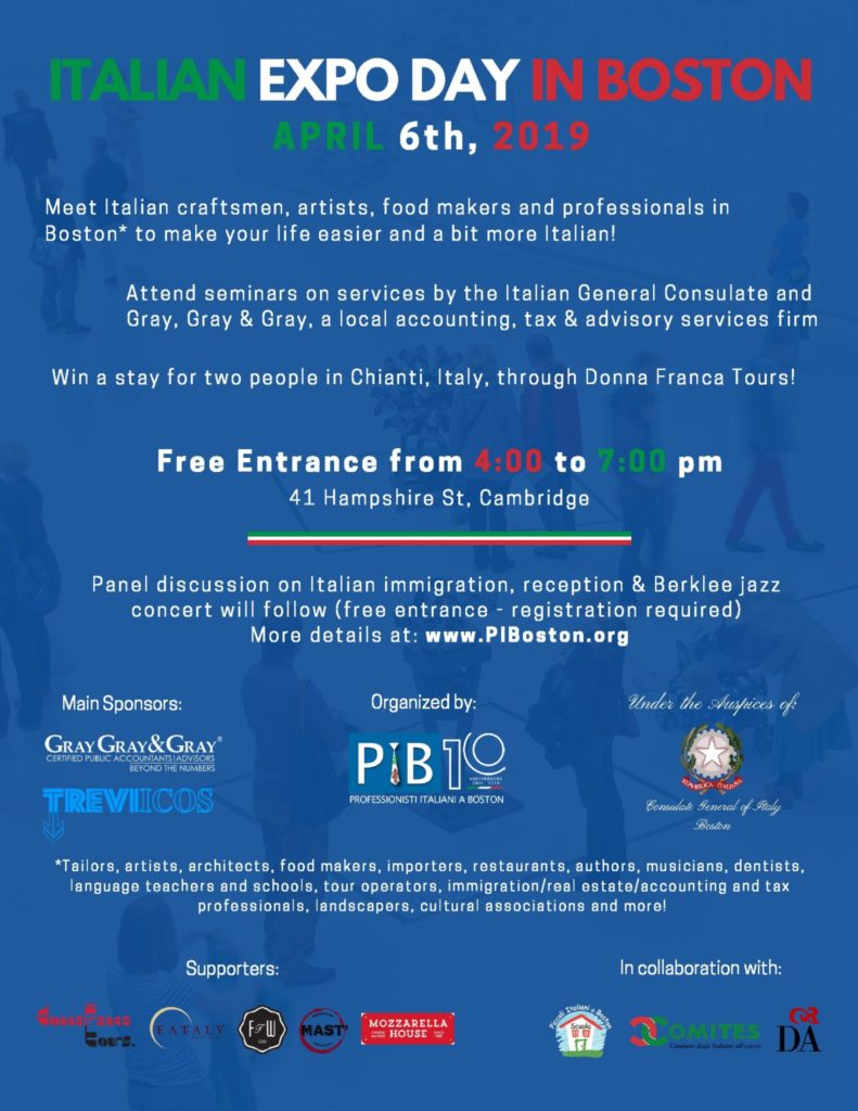 Flyer for Italian Expo Day in Boston, April 6th.