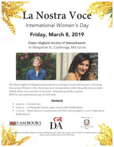 International Women's Day, March 8th starting from 5:45 at the Dante Alighieri Society of Massachusetts.