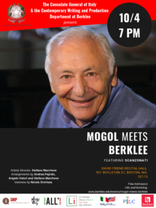 Mogol Meets Berklee, event held at Berklee's David Friend Recital Hall on October 4th, 7pm.