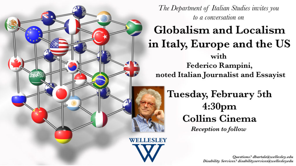 Join a conversation with Journalist Federico Rampini on February 5th at 4:30 at the Collins Cinema, 106 Central St, Wellesley, MA 02481.