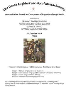 Italian-American Composers of Argentine Tango Music - Oct 25th @ Dante Alighieri Society of Massachusetts