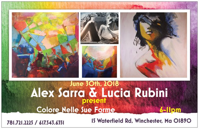 Colore Nelle Sue Forme, an art exhibition by Alex Sarra and Lucia Rubini. June 30th at 6pm, 15 Waterfield Road, Winchester, MA 01890