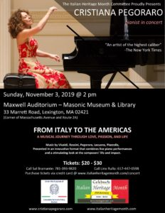Flyer for Cristiana Pegoraro's concert.