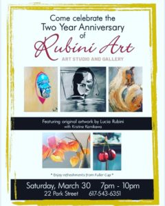 Flyier for Rubini Art Gallery 2nd Anniversary Reception March 30th at 7pm.