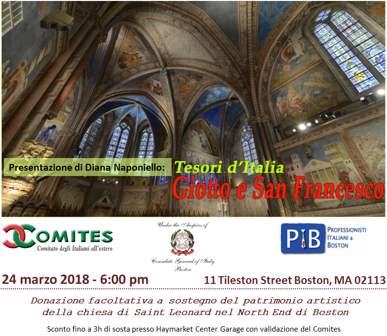 Fundraising Event Flier in favor of the artistic patrimony of Boston North End's Saint Leonard church. the event takes place on March 24th at 6pm at 11 Tileston Street, Boston, MA 02113