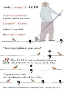 Flyer for the meet the author Leonardo Luccone at the Dante Alighieri Society in Cambridge on January 13th at 3:30.
