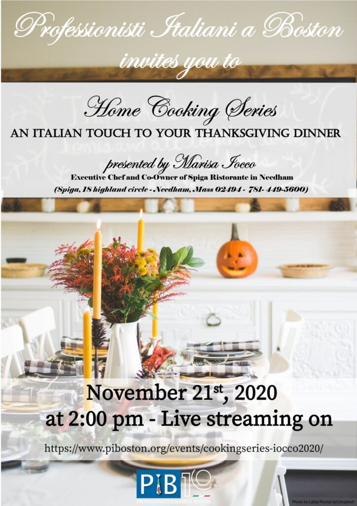 Thanksgiving Italian Cooking Special 2020 flyer.