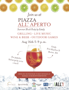Eataly's Piazza all'Aperto is back on August 16th from 5 to 9 pm.