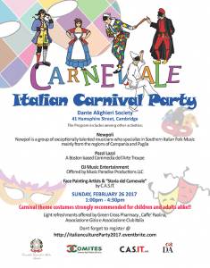 Italian Carnival at Dante Alighieri Society February 26th 1pm to 4:30