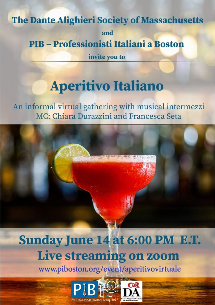 Dante Alighieri Society and PIB flyer for June 14th virtual gathering at 6pm.